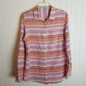 J. McLaughlin Button Down Stripe Pink Shirt